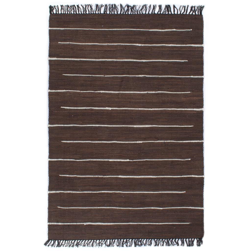 Handgewebter Chindi-Teppich Baumwolle 200×290 cm Braun