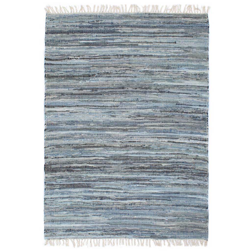 999133948 Handgewebter Chindi-Teppich Denim 200 x 290 cm Blau