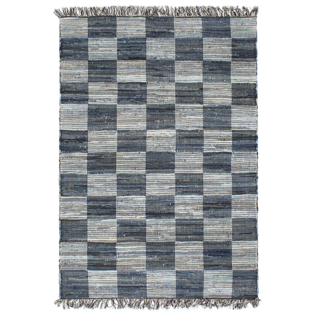 vidaXL Ručně tkaný koberec Chindi riflovina 80 x 160 cm modrý