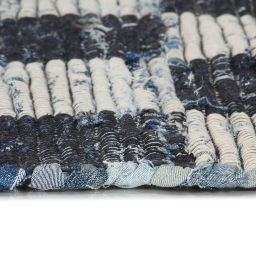 Vloerkleed chindi handgeweven 160x230 cm denim blauw
