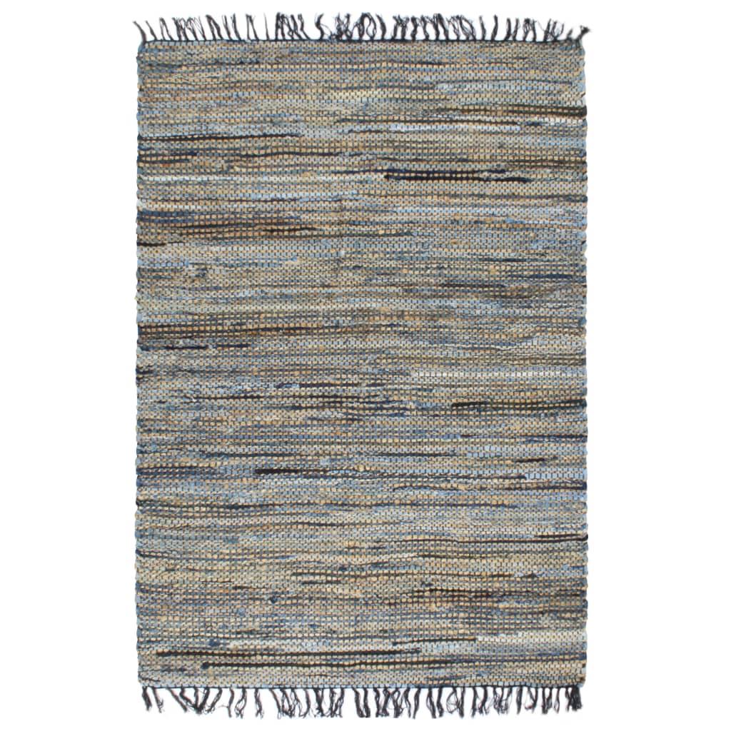 vidaXL Covor Chindi țesut manual, iută denim, 120x170 cm, multicolor poza vidaxl.ro