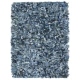 vidaXL Tapis Shaggy Denim 190x280 cm Bleu