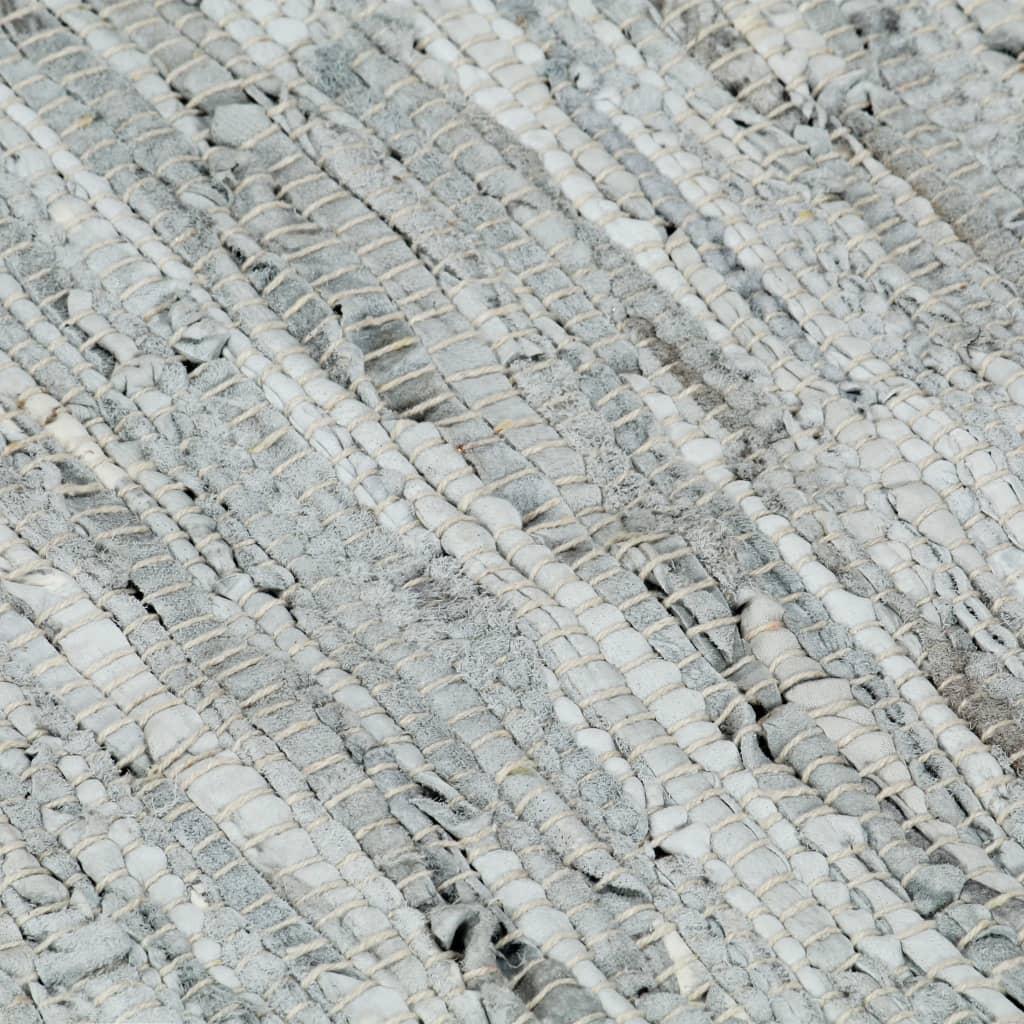 Vloerkleed chindi handgeweven 160x230 cm leer lichtgrijs