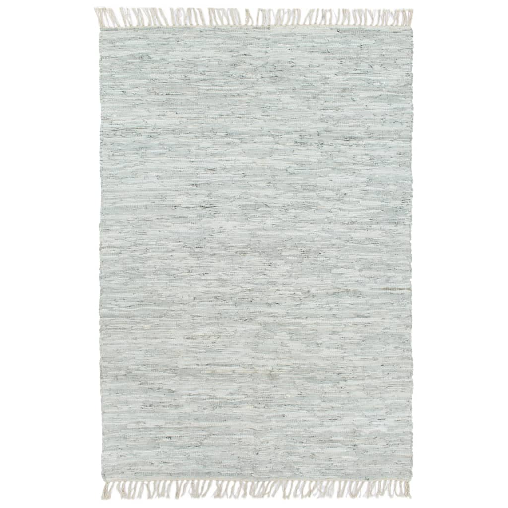 999133964 Handgewebter Chindi-Teppich Leder 190x280 cm Hellgrau