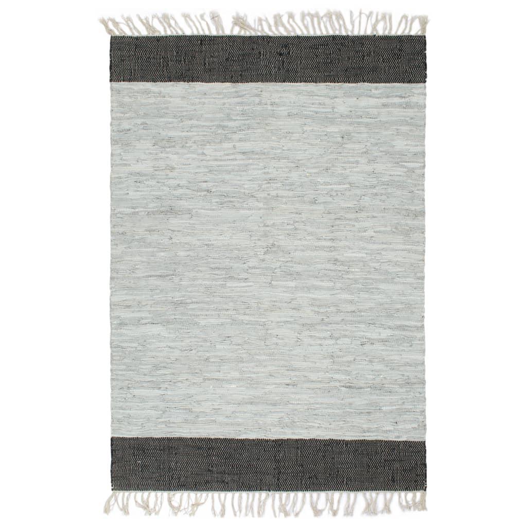 vidaXL Ručně tkaný koberec Chindi kůže 80x160 cm světle šedý a černý