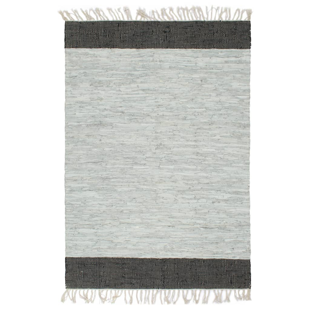 Vloerkleed chindi handgeweven 190x280 cm leer lichtgrijs zwart
