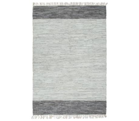 vidaXL Ręcznie tkany dywanik Chindi, skóra, 160x230 cm, szary