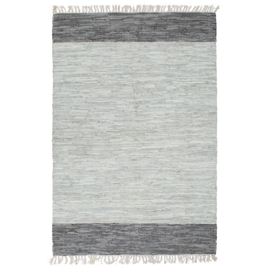 999133972 Handgewebter Chindi-Teppich Leder 190x280 cm Grau