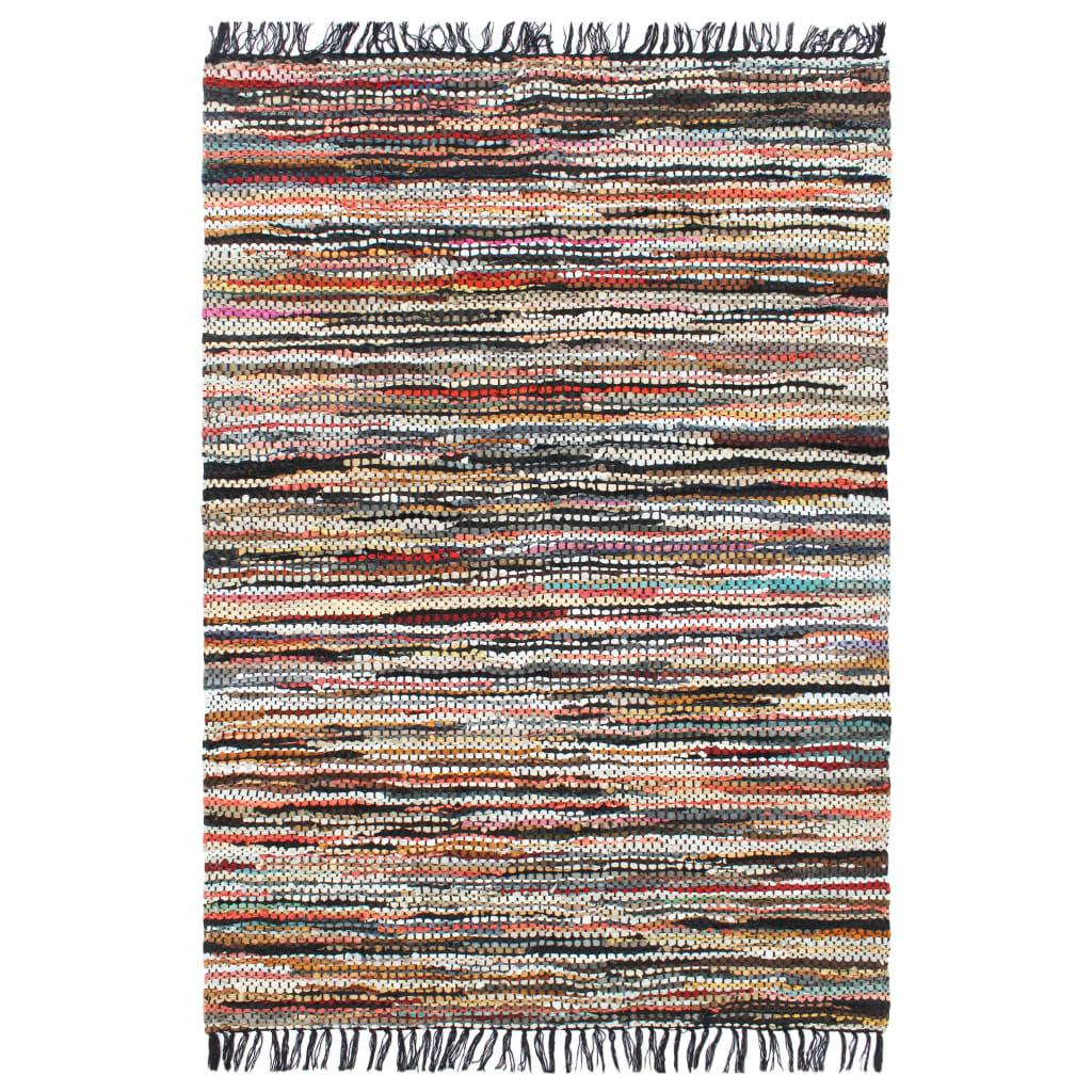 999133977 Handgewebter Chindi-Teppich Leder 80 x 160 cm Mehrfarbig