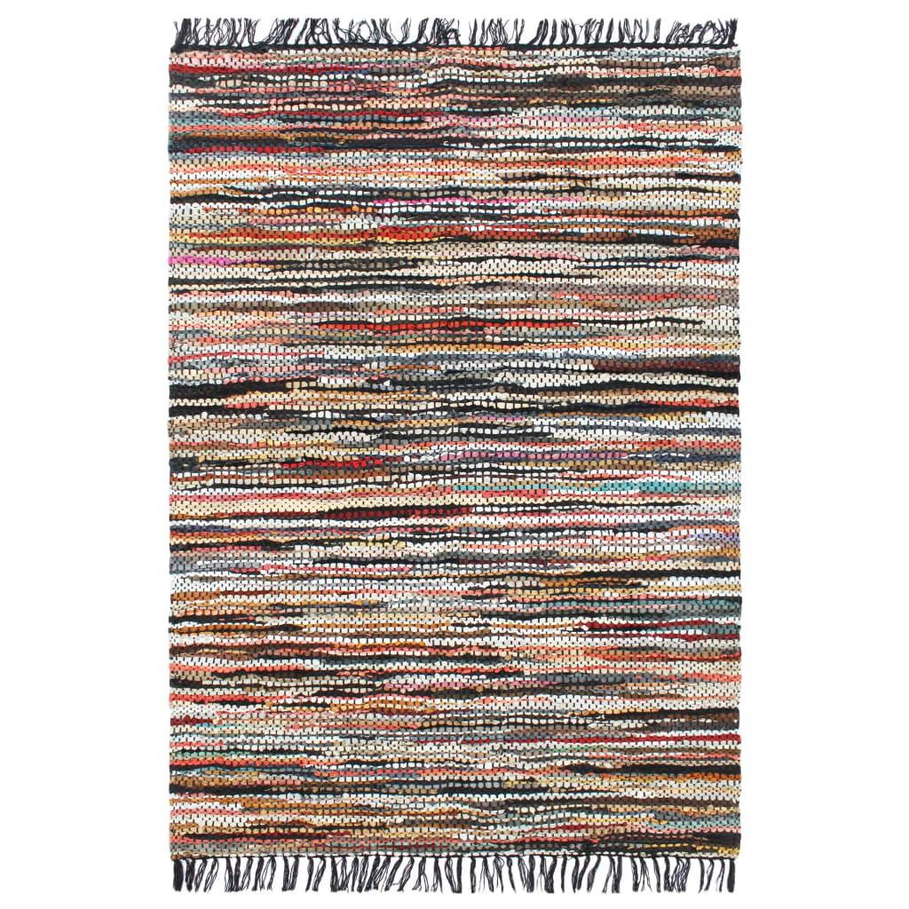 999133979 Handgewebter Chindi-Teppich Leder 160 x 230 cm Mehrfarbig