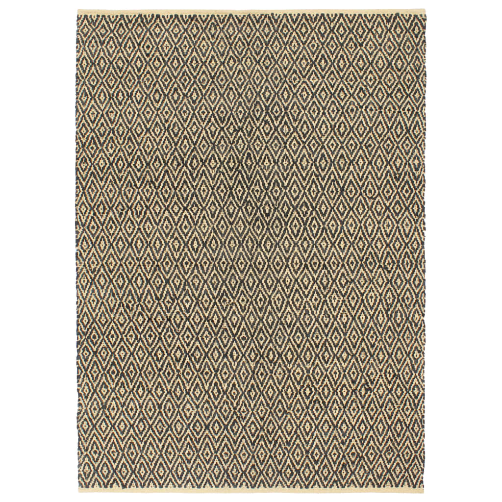 999133986 Handgewebter Chindi-Teppich Leder Baumwolle 120x170cm Schwarz