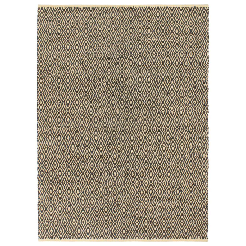 999133987 Handgewebter Chindi-Teppich Leder Baumwolle 160x230cm Schwarz