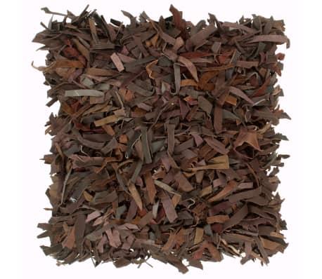 vidaXL Poduszka shaggy, brązowa, 60x60 cm, skóra i bawełna[1/4]