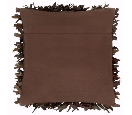 vidaXL Poduszka shaggy, brązowa, 60x60 cm, skóra i bawełna[2/4]