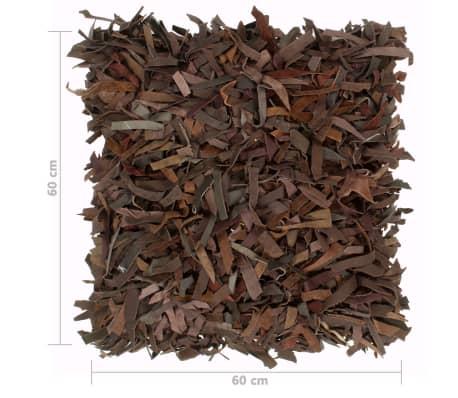 vidaXL Poduszka shaggy, brązowa, 60x60 cm, skóra i bawełna[4/4]