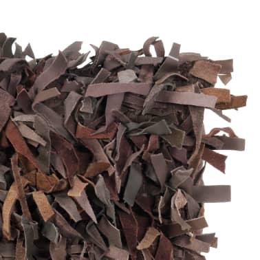 vidaXL Poduszka shaggy, brązowa, 60x60 cm, skóra i bawełna[3/4]
