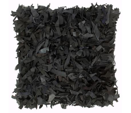 vidaXL Kissen Hochflor Schwarz 60 x 60 cm Leder und Baumwolle