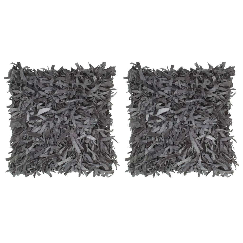vidaXL Pernuțe Shaggy, 2 buc., gri, 45x45 cm, piele și bumbac poza 2021 vidaXL