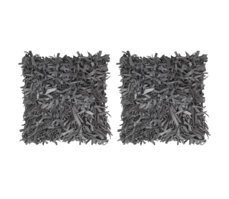 vidaXL Pernuțe Shaggy, 2 buc., gri, 45x45 cm, piele și bumbac
