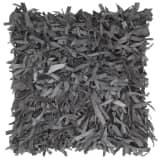 vidaXL Kissen Hochflor Grau 60 x 60 cm Leder und Baumwolle