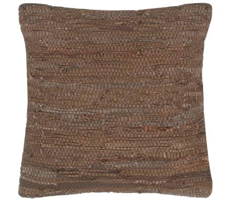 vidaXL Pernuță Chindi, maro, 60 x 60 cm, piele și bumbac