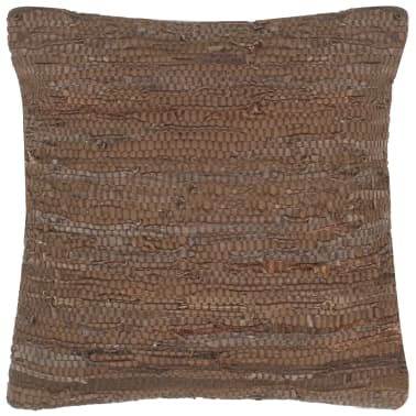 vidaXL Pernuță Chindi, maro, 60 x 60 cm, piele și bumbac[1/4]