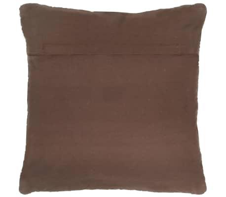 vidaXL Pernuță Chindi, maro, 60 x 60 cm, piele și bumbac[2/4]