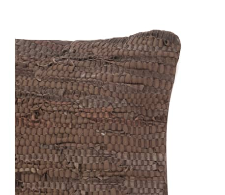vidaXL Pernuță Chindi, maro, 60 x 60 cm, piele și bumbac[3/4]