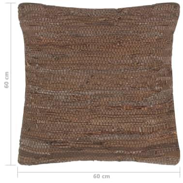 vidaXL Pernuță Chindi, maro, 60 x 60 cm, piele și bumbac[4/4]