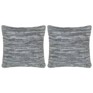 vidaXL Perne decorative, 2 buc., Chindi gri, 45x45 cm, piele & bumbac[1/5]
