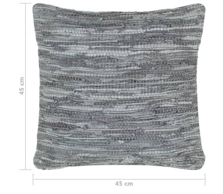 vidaXL Perne decorative, 2 buc., Chindi gri, 45x45 cm, piele & bumbac[5/5]