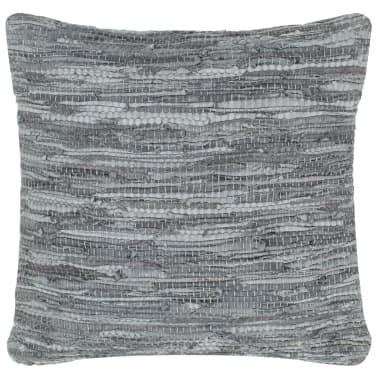 vidaXL Perne decorative, 2 buc., Chindi gri, 45x45 cm, piele & bumbac[2/5]