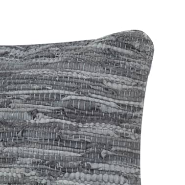 vidaXL Perne decorative, 2 buc., Chindi gri, 45x45 cm, piele & bumbac[4/5]
