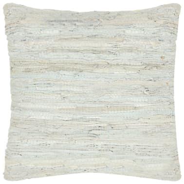 vidaXL Poduszka Chindi, jasnoszara, 60x60 cm, skóra i bawełna[1/4]