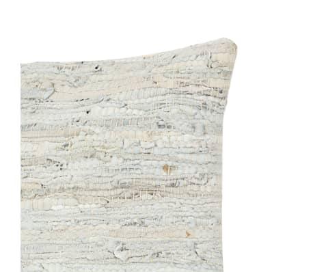 vidaXL Poduszka Chindi, jasnoszara, 60x60 cm, skóra i bawełna[3/4]