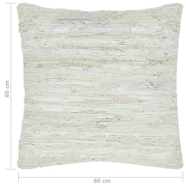 vidaXL Poduszka Chindi, jasnoszara, 60x60 cm, skóra i bawełna[4/4]