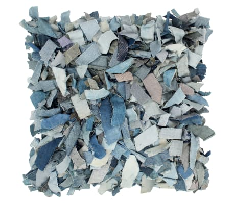 vidaXL Kussen denim shaggy hoogpolig 60x60 cm leer en katoen blauw