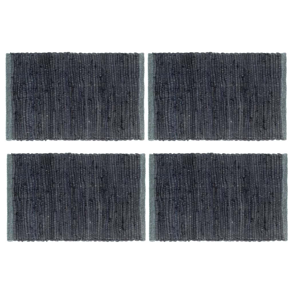 vidaXL Prostírání 4 ks chindi antracitové 30 x 45 cm bavlna
