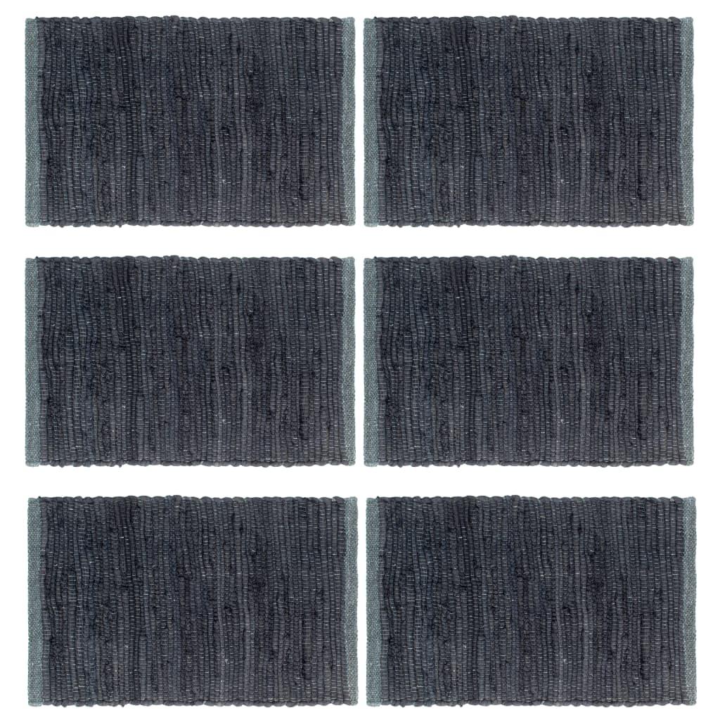vidaXL Naproane, 6 buc., Chindi simplu, antracit, 30 x 45 cm, bumbac imagine vidaxl.ro