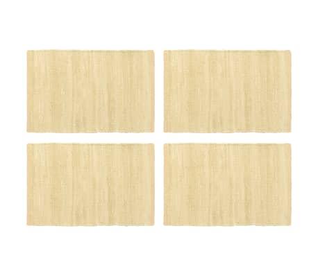 vidaXL Stalo kilimėliai, 4 vnt., vienspalv. smėlio, 30x45cm, medvilnė