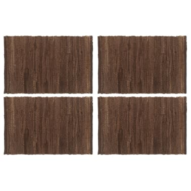 vidaXL Stalo kilimėliai, 4 vnt., vienspalviai rudi, 30x45cm, medvilnė[1/5]