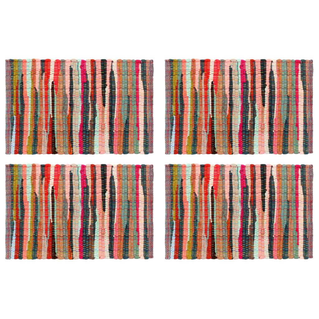 vidaXL Naproane, 4 buc., chindi, multicolor, 30 x 45 cm, bumbac imagine vidaxl.ro