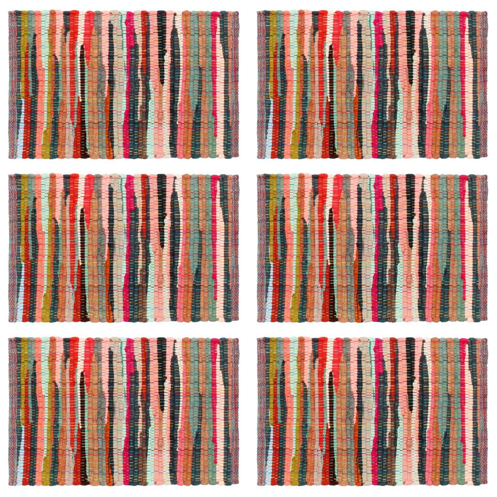 vidaXL Naproane, 6 buc., chindi, multicolor, 30 x 45 cm, bumbac imagine vidaxl.ro