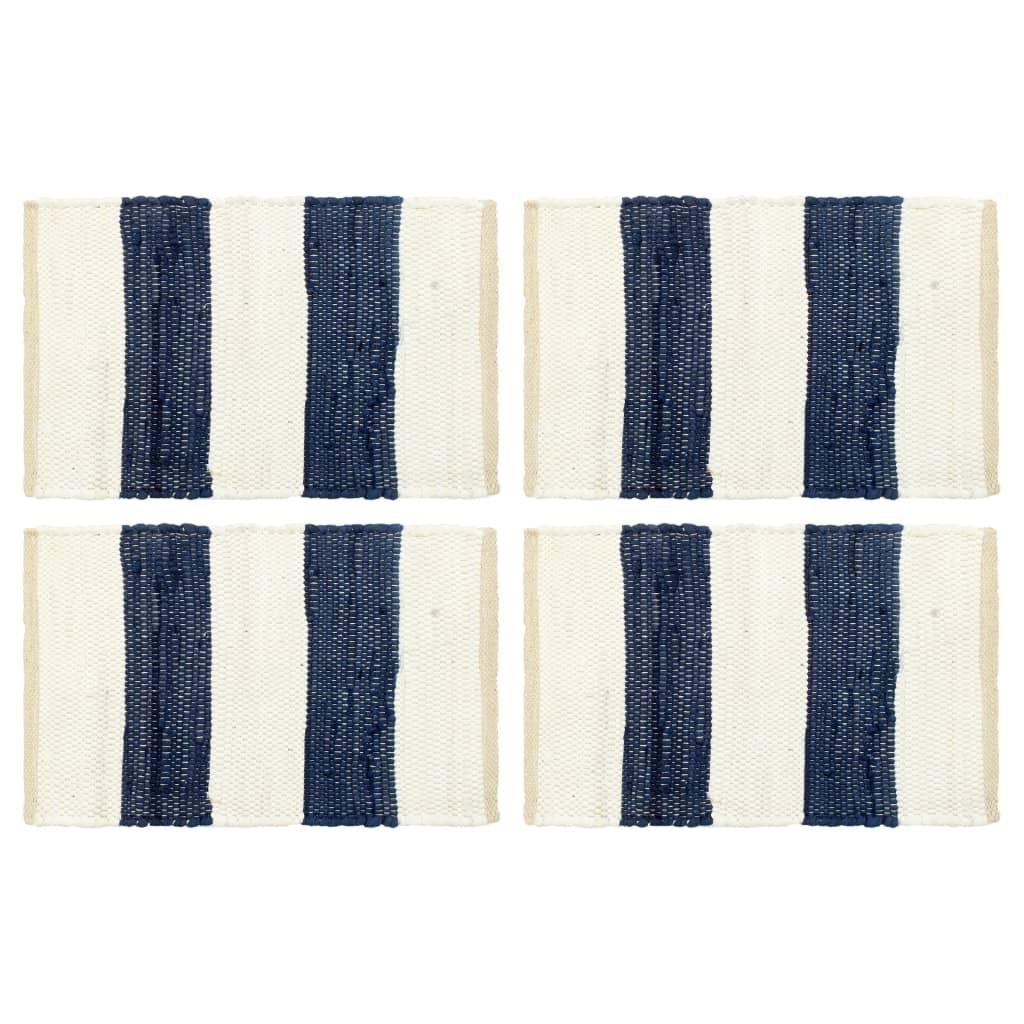vidaXL Naproane, 4 buc., chindi, albastru & alb în dungi, 30 x 45 cm imagine vidaxl.ro
