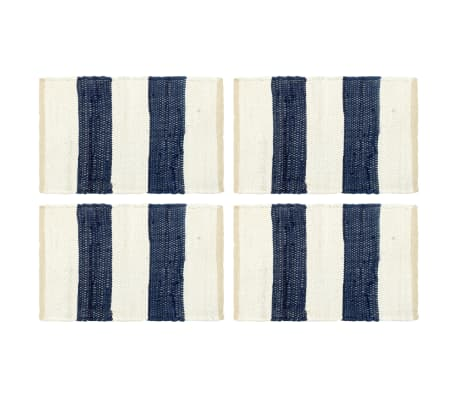 vidaXL Stalo kilimėliai, 4vnt., mėlynų + baltų dryžių, 30x45cm, chindi[1/5]
