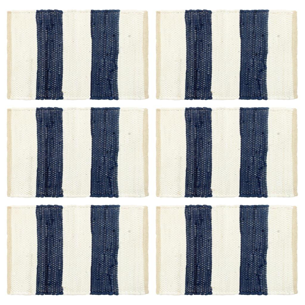 Prostírání 6 ks chindi proužky modré a bílé 30 x 45 cm