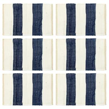 vidaXL Stalo kilimėliai, 6vnt., mėlynų + baltų dryžių, 30x45cm, chindi[1/5]