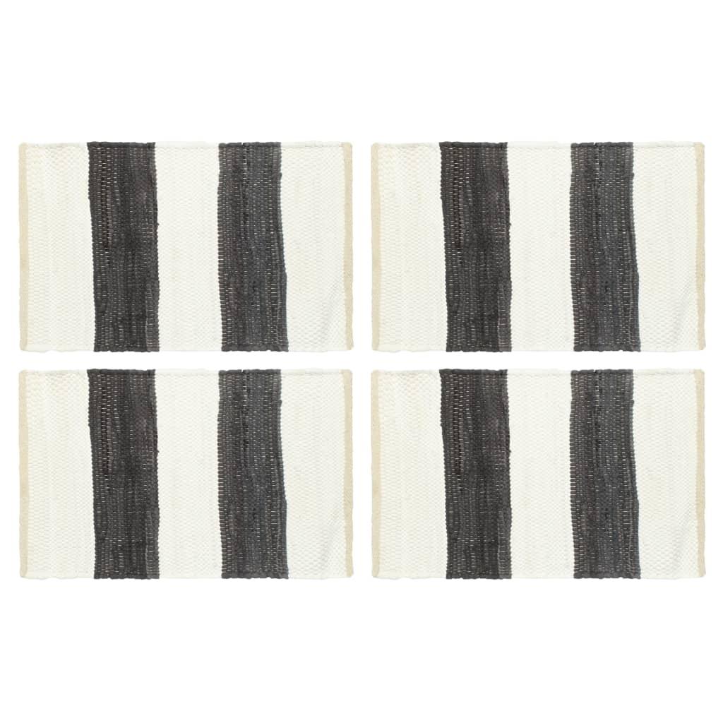 Prostírání 4 ks chindi proužky antracitové a bílé 30 x 45 cm