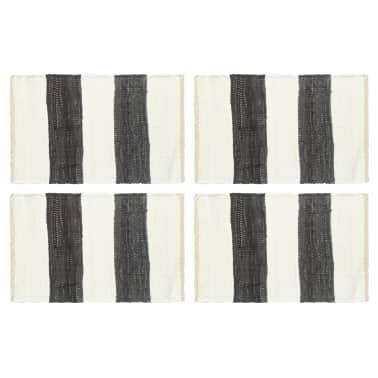 vidaXL Stalo kilimėliai, 4vnt., antrac.+baltų dryžių, 30x45cm, chindi[1/5]