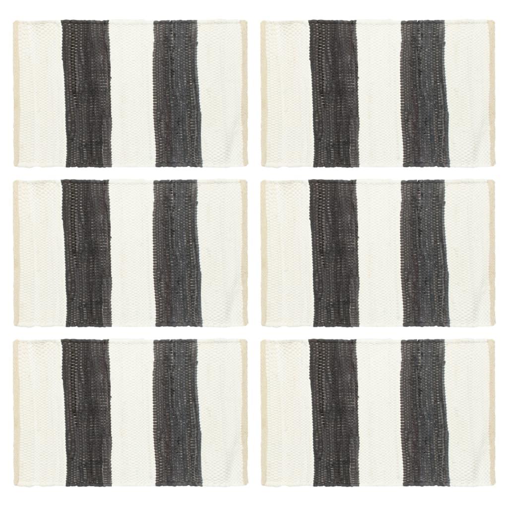 vidaXL Prostírání 6 ks chindi proužky antracitové a bílé 30 x 45 cm